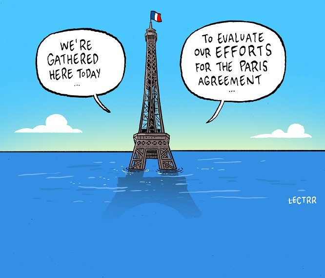 Cartoon of the Eiffel Tower, subtantially flooded by water, politicians heard to be evaluating their 2015/2016 climate change policy efforts