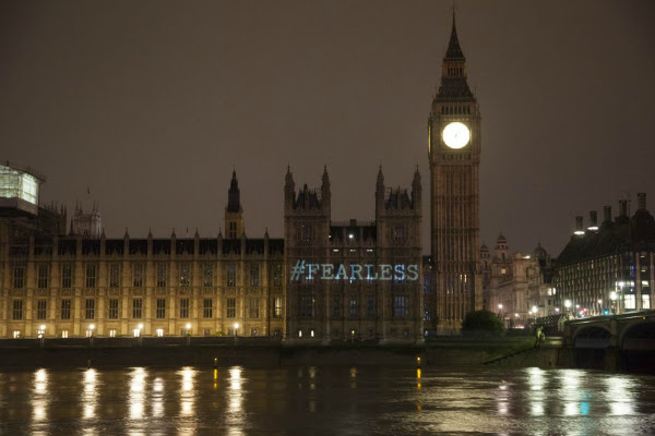 #Fearless projected onto Houses of Parliament, London