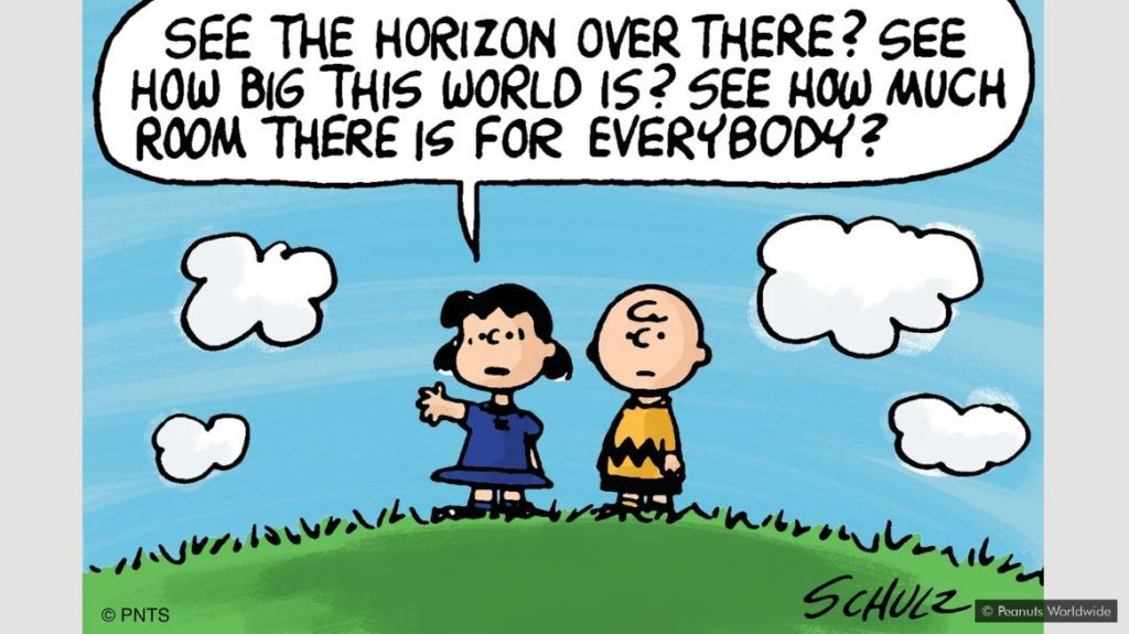 Peanuts comic strip - Looking at the horizon, Lucy motions to Charlie Brown that there is so much room for everybody