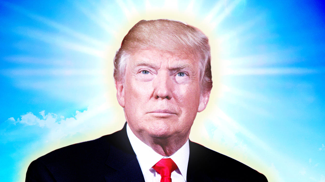 Donald Trump with glow of 'holy' light behind his head