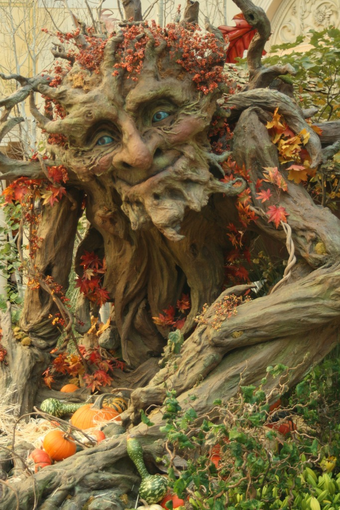 Large carving of happy ent, adorned with autumnal foliage and gourds
