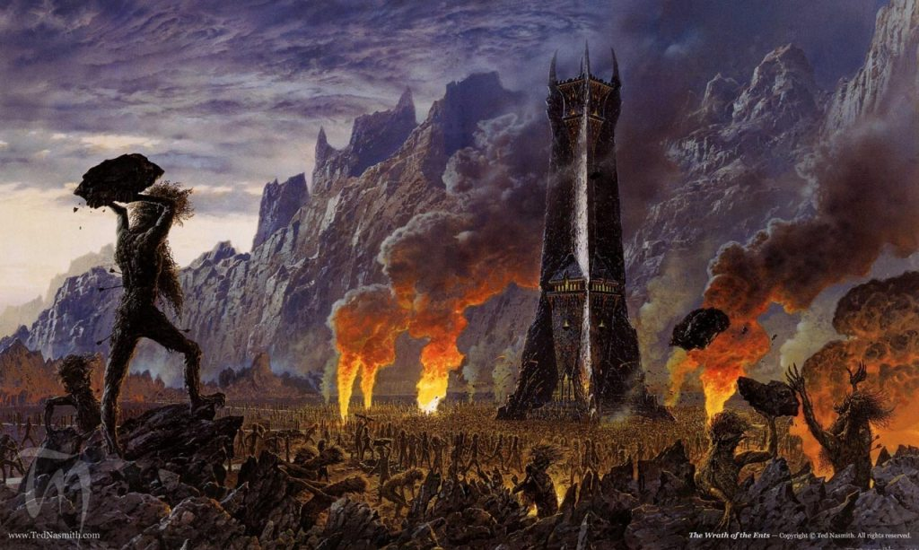 'The Wrath of the Ents' by Ted Nasmith, showing ents attacking the Tower of Saruman
