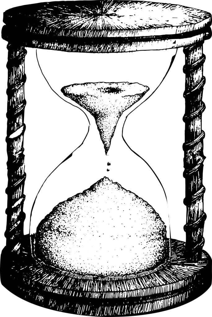 Hourglass black & white drawing, the sand is nearly ended