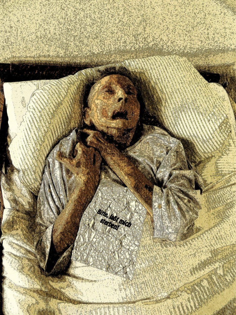 Aged ill person in bed