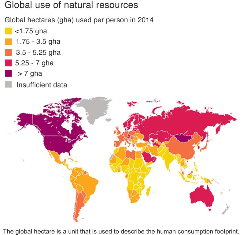 'Who Consumes Most' map showing Rich World consumes far more than Poor World