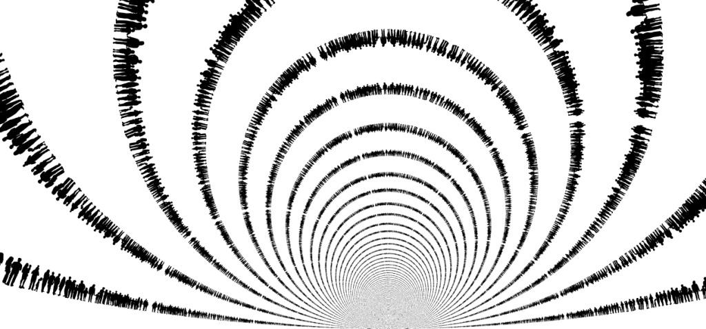 Graphic of lines of silhouetted humans distorted into mindboggling patterns